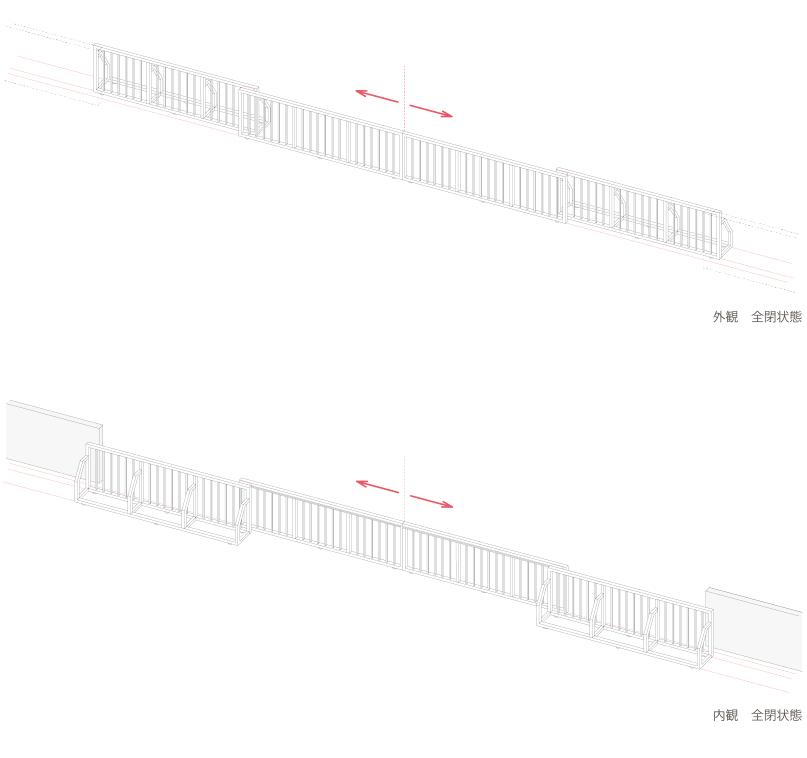 両引ゲート 自立安定器型